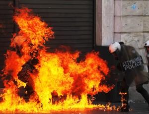 Foto LaPresse26/09/2012 AteneEsteroScontri tra polizia e manifestanti